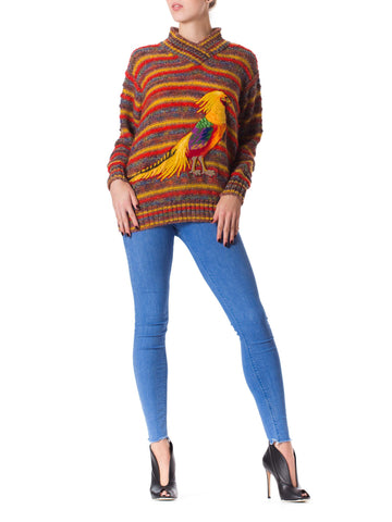 1980S MISSONI Orange Multi Striped Wool Knit Sweater With Hand Made Parrot Appliqué