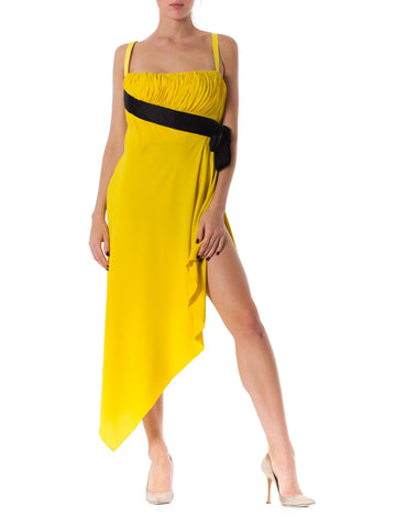 1990S CHANEL Lemmon Yellow Silk Crepe Chiffon Strapless Empire Waist Dress With Black Satin Bow & High Slit