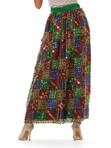 1960S MALCOLM STARR Jeweltone Silk Organza Fully Beaded And Embroidered Maxi Skirt In Gold With Crystals