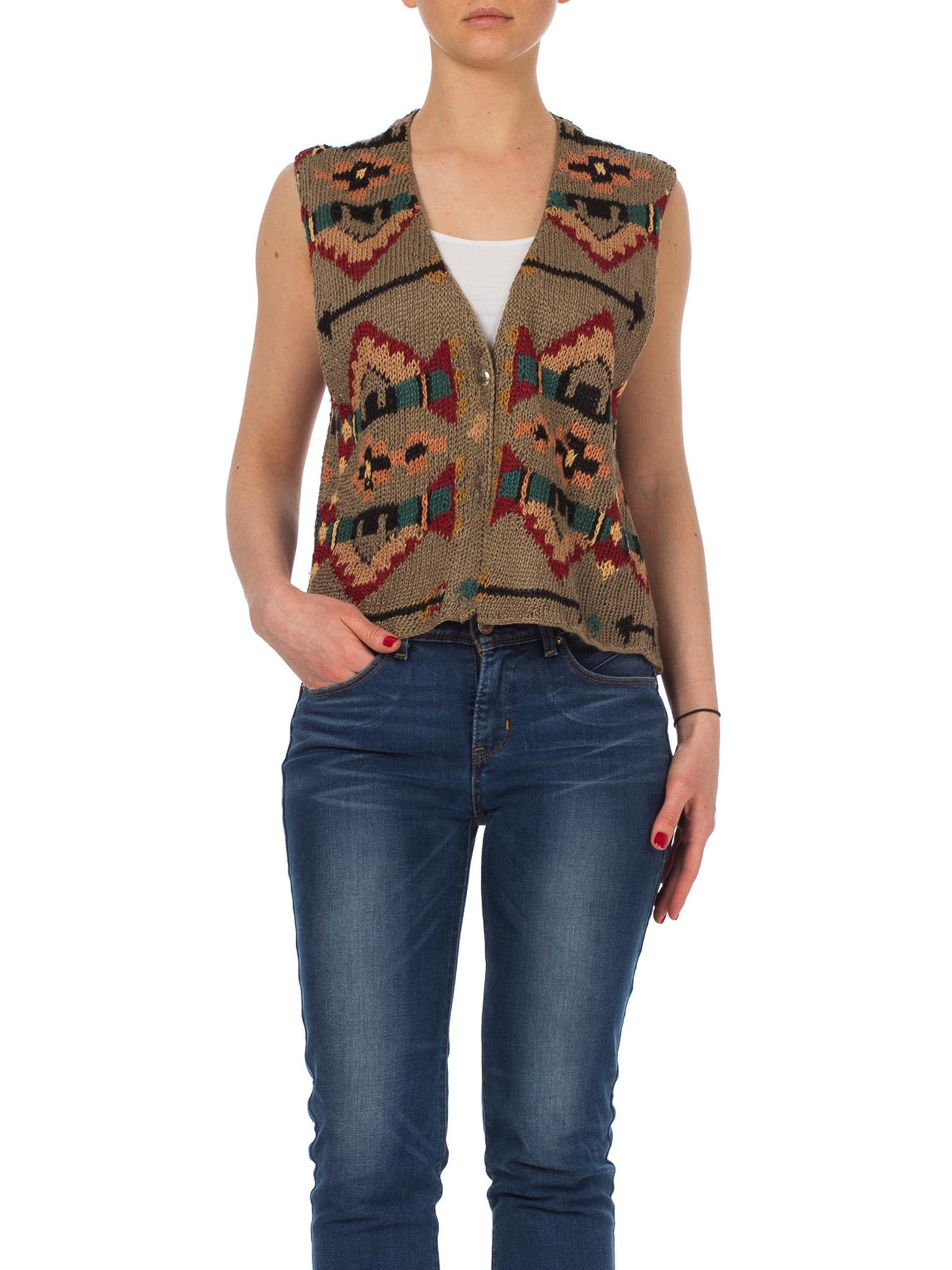 1980s Ralph Lauren Southwest Indian Blanket Style Hand Knitted Vest