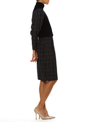 Vintage 1980s Ungaro Black and White Plaid Dress