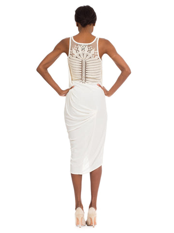 1990S JEAN PAUL GAULTIER Ivory Rayon Jersey Draped Dress With Crochet Lace Back
