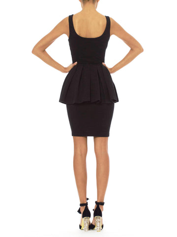 1980s Betsey Johnson Vintage Peplum Black Dress