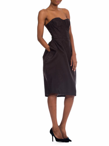 2000S Dolce & Gabbana Black Silk Twill Strapless Bustier Cocktail Dress With Pockets