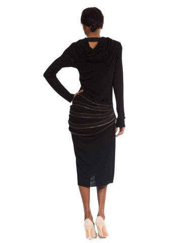 1990S JEAN PAUL GAULTIER Black Jersey Dress With Hood & Adjustable Brass Zippers