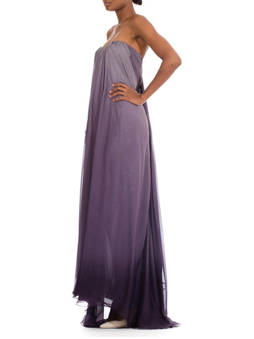 2004 Alexander Mcqueen Dove Grey & Lavender Silk Chiffon Strapless Cape-Back Gown With Ombré Lurex Lining