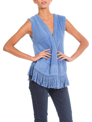 Festive 1970s Vintage Lanvin Light Blue Knit Vest
