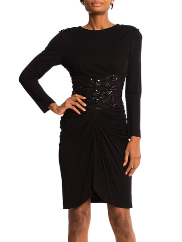 1980S VICKY TIEL Black Rayon Jersey Long Sleeve Cocktail Dress With Sheer Beaded Lace