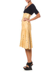 Vintage 1997 Givenchy Tan Leather Laser Cut Skirt