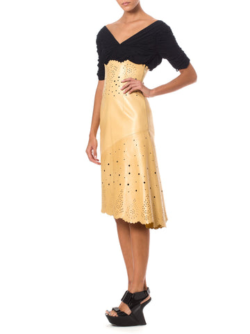 1990S ALEXANDER MCQUEEN GIVENCHY Camel Leather High-Waisted  Skirt With Asymmetrical Hemline