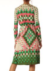 1960s Emilia Bellini Geometric Print Silk Jersey Long Sleeve Dress