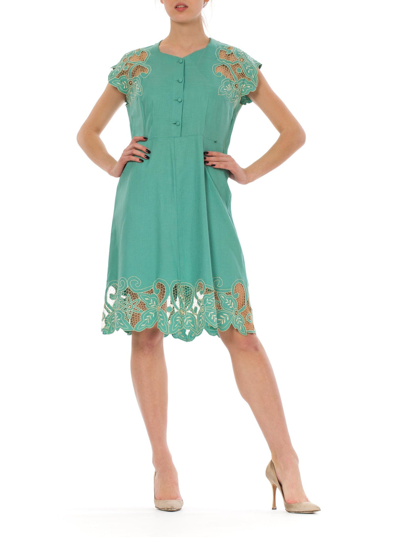 1950s Turquoise Embroidered Cut Out Crochet Detail Buttoned Front Linen Midi Dress