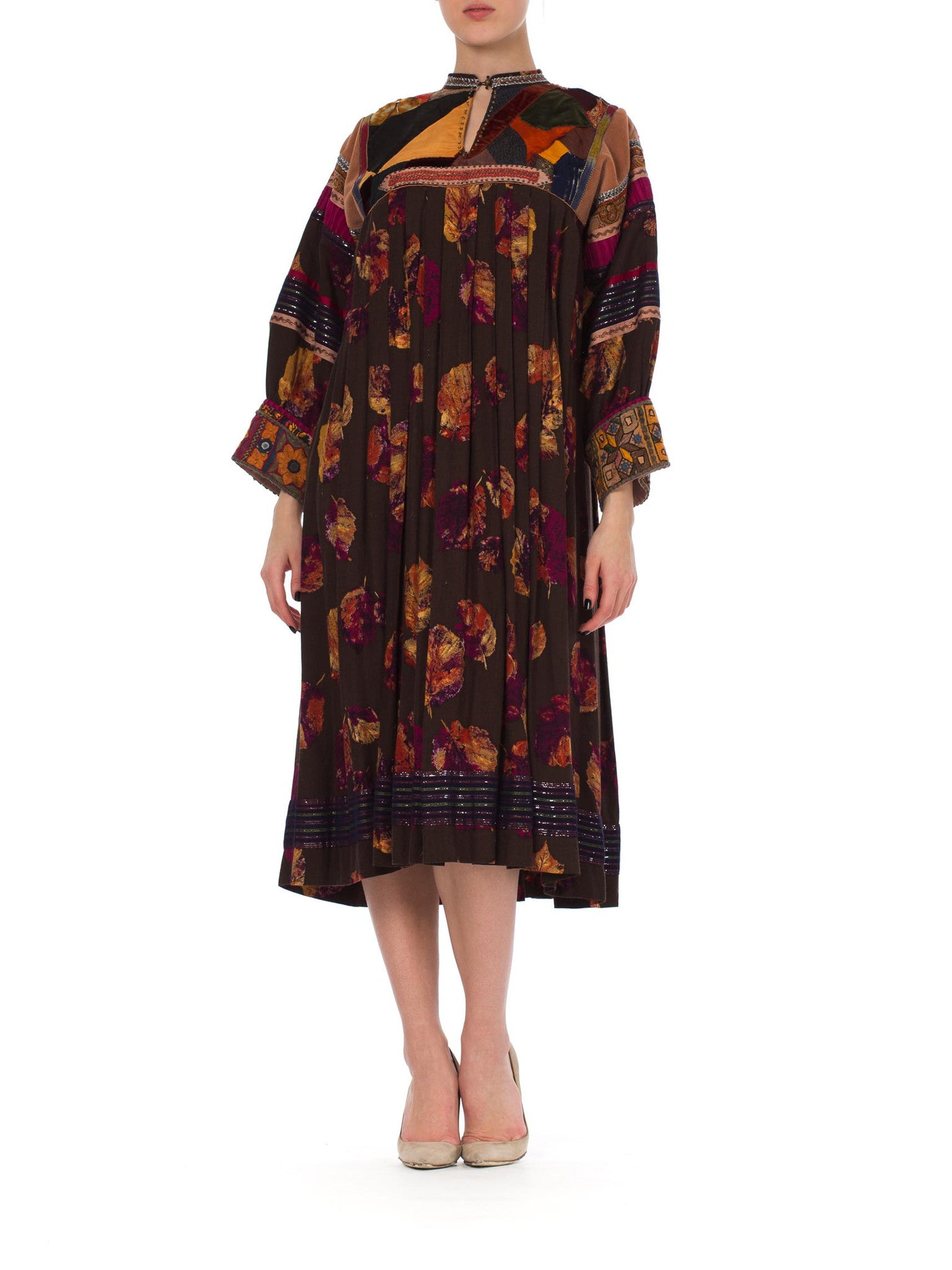 1970s Boho Ethnic Embroidered Patchwork Pleated Caftan  Dress