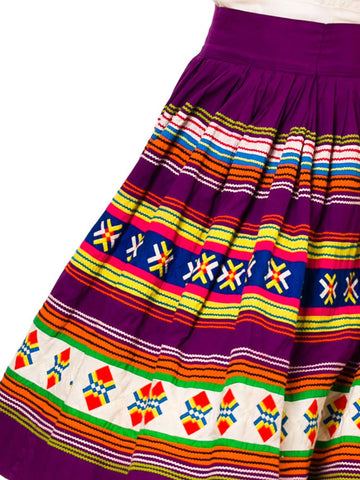 1950S Purple Multicolored Cotton Florida Seminole Indian Patchwork Skirt