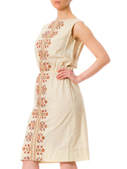1940s Ethnic Cross Stitch Embroidery Cotton Sleeveless Dress