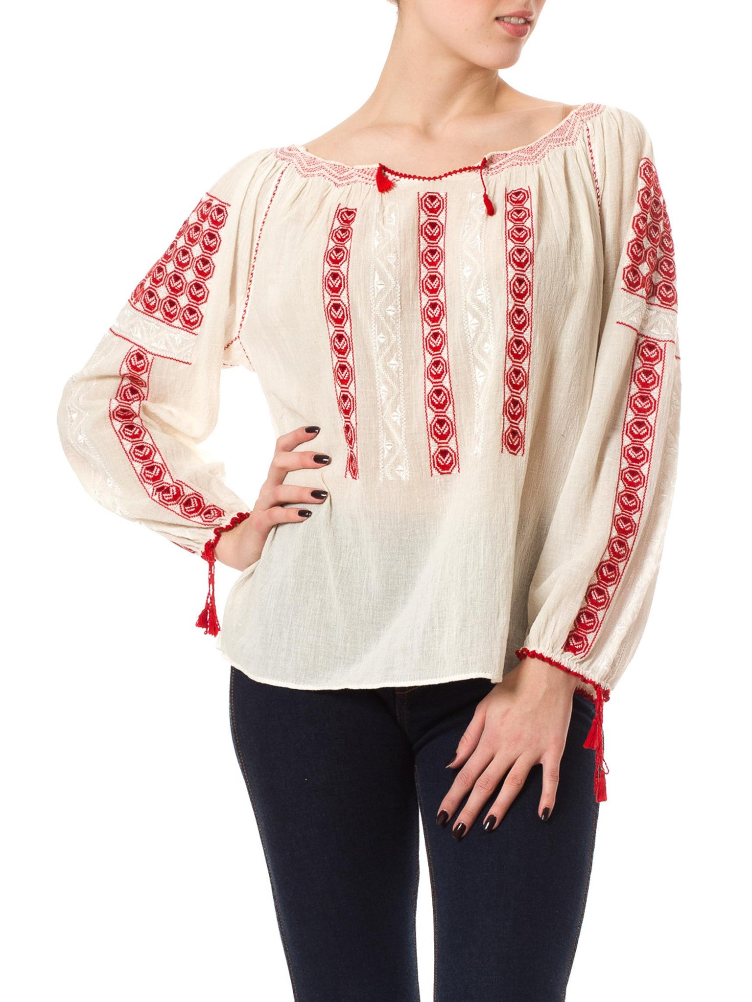 1970's Vintage Cotton Peasant Red Embroidered Blouse
