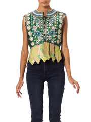 1960's Ethnic Embroidered Floral Green Top