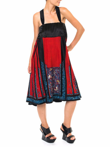 1900S Quing Dynasty Red & Black Silk Hand Embroidered Chinese Dress Made From Antique Skirt