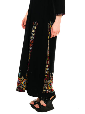 1970S Black Hand Embroidered Cotton Kaftan
