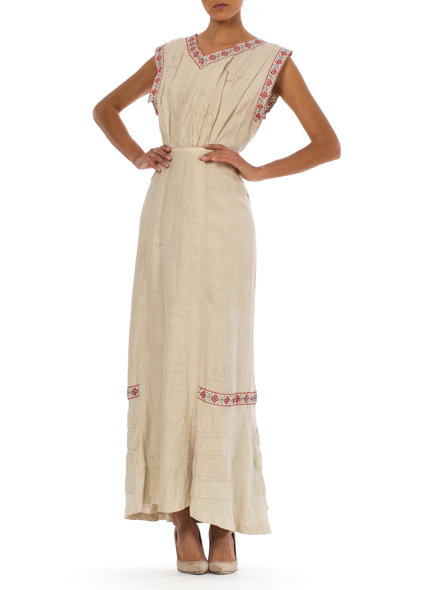 Edwardian Beige Linen Walking Dress With Bias Cut Train & Red Folk Embroidery