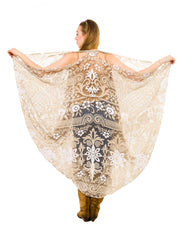 1920s Hand Made Filét Lace Wrap