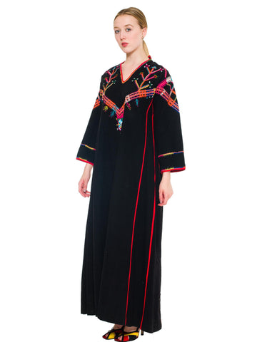1960S Powerful Long Black Colorfully Embroidered Cloak