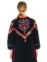Powerful Long Black Colorfully Embroidered Cloak