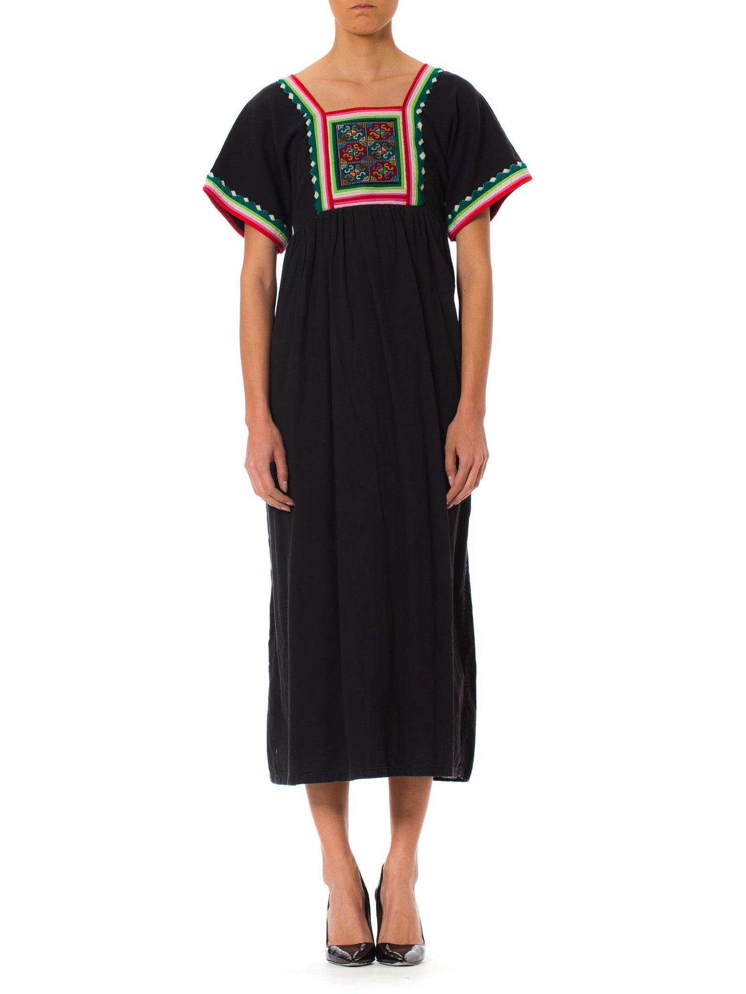 1960s Afghan Ethnic Black Caftan Dress