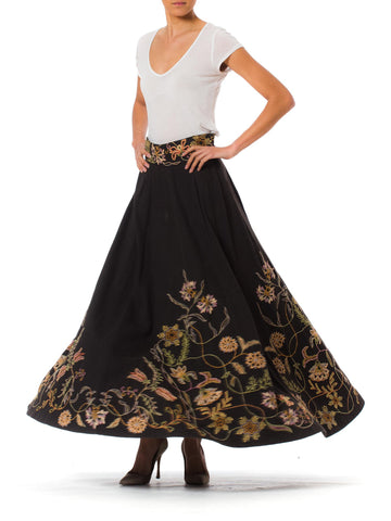 1940s Ethnic Embroidered High Waist Maxi Wool Skirt