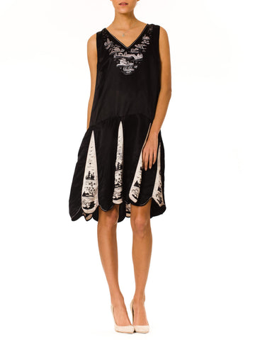 1920S Black & White Silk Satin Chinese Embroidered Drop Waist Dress