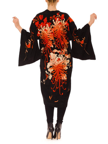 1920s Black Silk and Floral Embroidery Kimono Robe