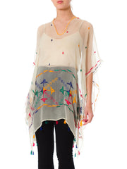 1970s Ethnic Embroidered Oversized Silk Sheer Tunic with Tassel