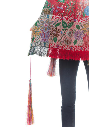 1970S  Hand Woven Cotton Peruvian Ceremonial Poncho Covered In Metallic Embroidery With Tassels