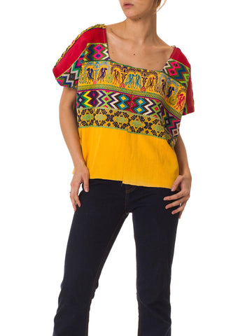 1970S Red & Yellow Cotton Top With Geometric Ethnic Hand Embroidery