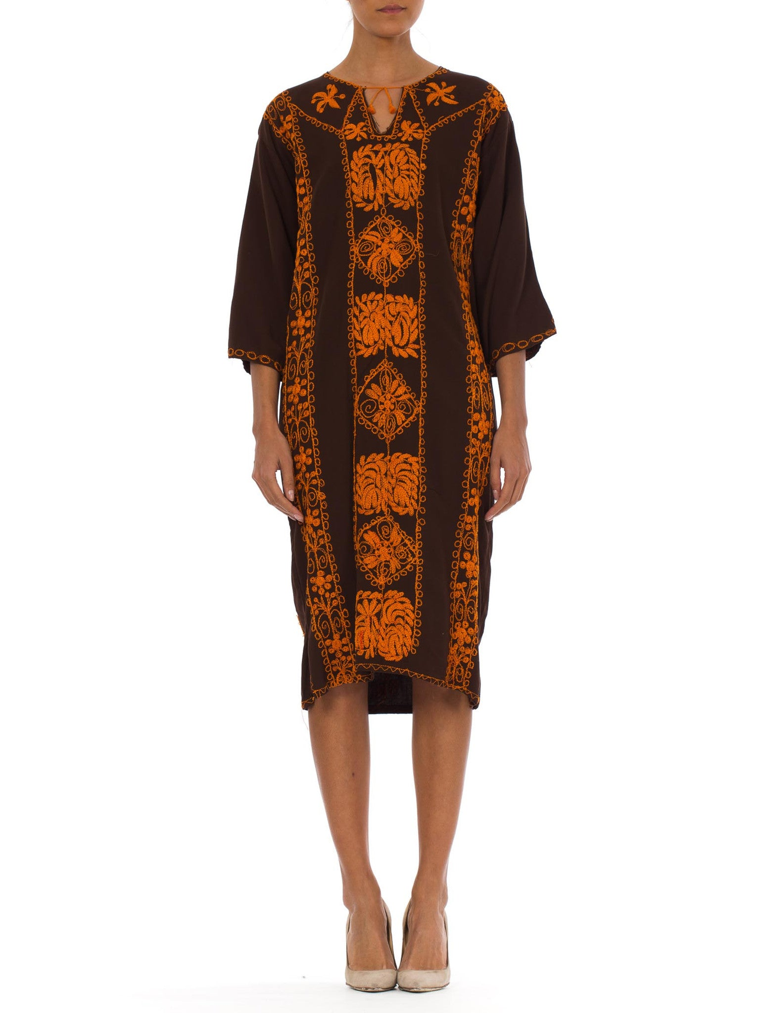 1970s Boho Ethnic Hand Embroidered Brown Caftan Dress