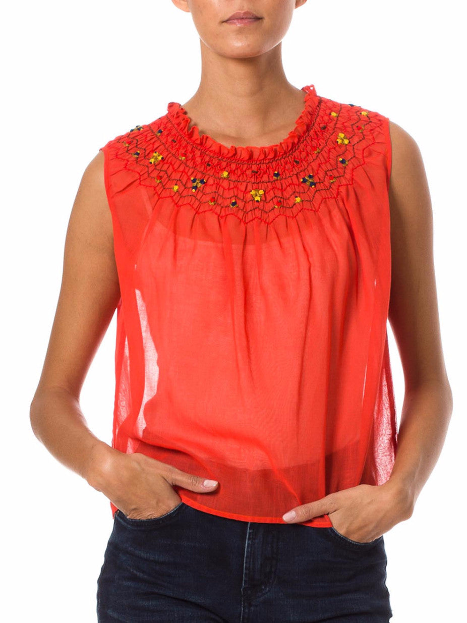 1960's Sassy Sheer Red Embroidered Top