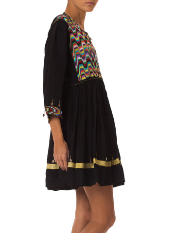 1970S Black Rayon Blend Hand Embroidered Middle Eastern Mediterranean Dress With Silver Jingles
