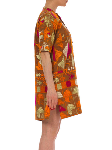 1960S Caramel Brown & Orange Cotton Iranian Silk Embroidered Tunic Dress