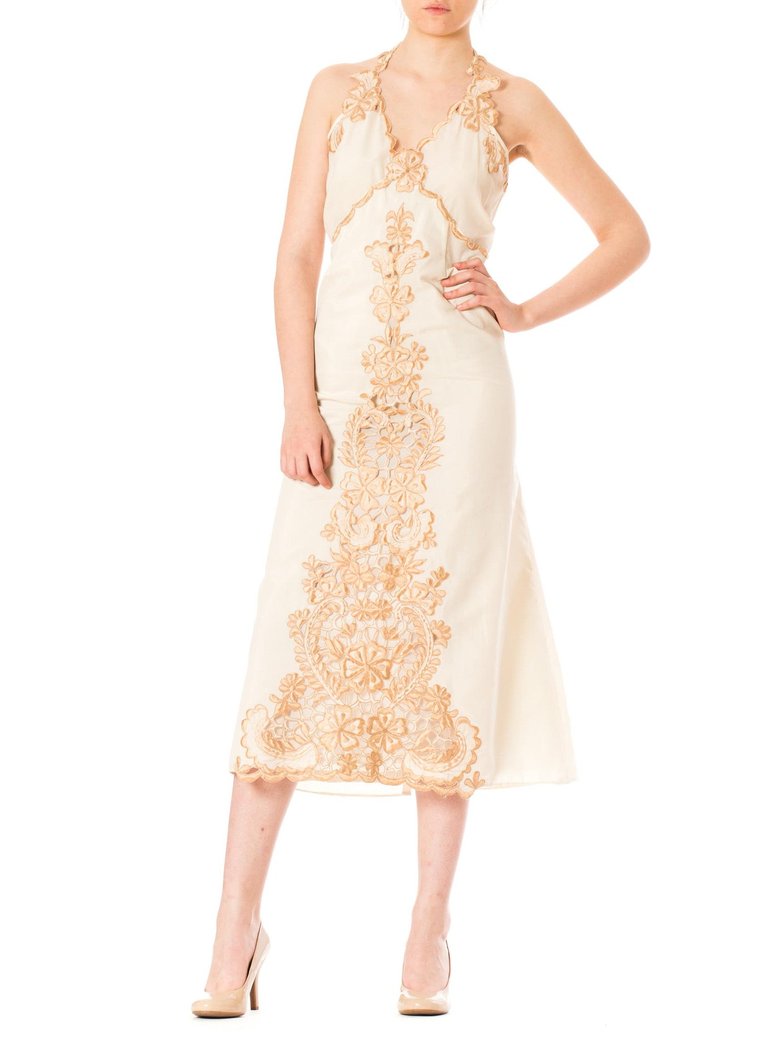 1960s Boho Bridal Embroidered Floral Cutout Lace Halter Dress