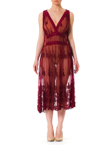 Vintage 1920s Style Beaded and Embroidered Sheer Burgundy Evening Dress