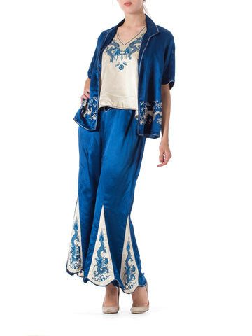 1920s Dragon Embroidered Antique Chinese Pajamas