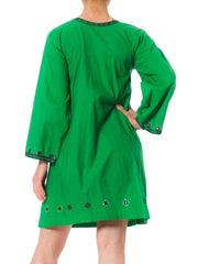 1960s Pakistan Ethnic Embroidered Mirrow Detail Embellishment Green Cotton Kaftan Dress