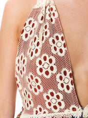 1960s Ethnic Patchwork Print Lace Detail Halter Summer Dress
