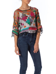 1970s Crochet Floral Embroidered See Through Top