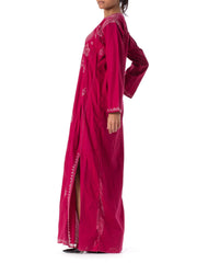 1970s Ethnic Embroidered Burgundy Caftan Dress