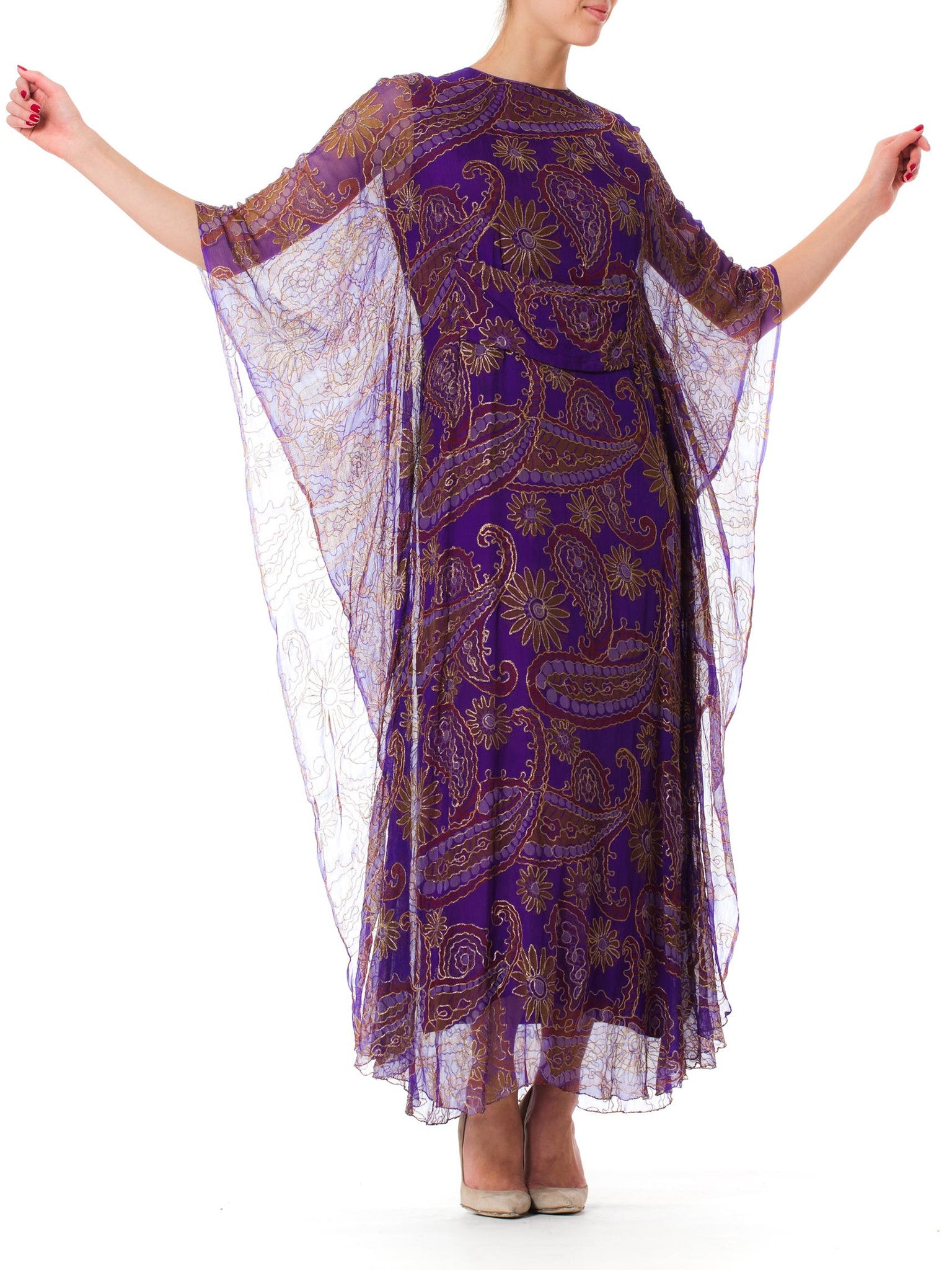 1970S Purple Embroidered Chiffon Ethnic Lame  Kaftan
