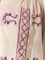1970s Ethnic Embroidered Peasant Style Linen Blouse with Tassels