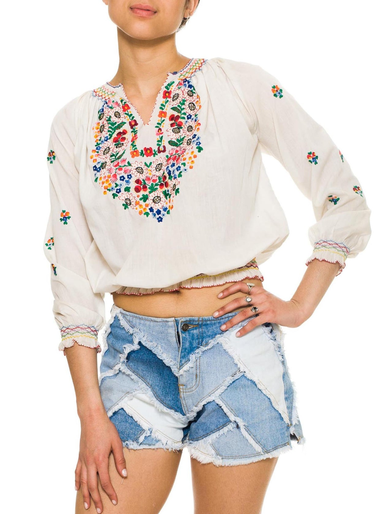 Hand Embroidered Boho Folkloric Blouse