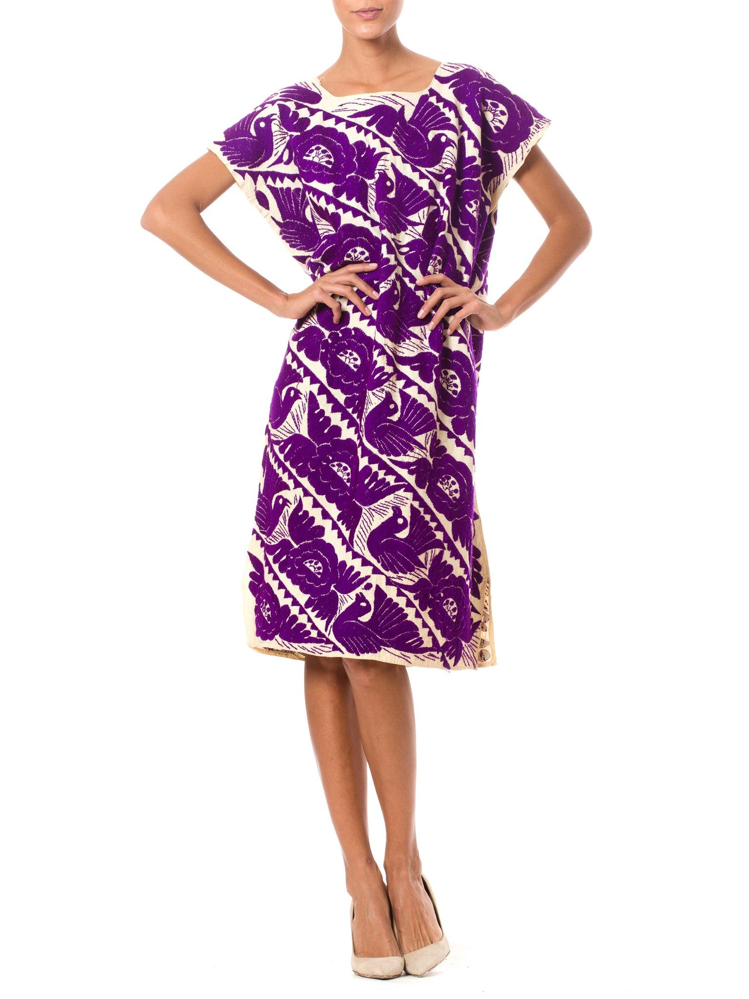1960's Sheath Dress with Purple Bird Embroidery