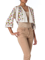 1970s Boho Peasant Style Floral Embroidered and Beaded Cotton Crop Jacket